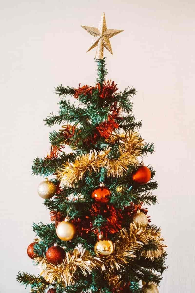 Red and Golden Christmas Tree Decor